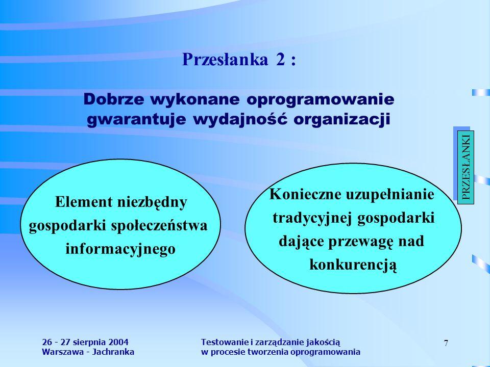 26 - 27 sierpnia 2004 Warszawa - Jachranka Testowanie i zarządzanie jakością w procesie tworzenia oprogramowania 7 Przesłanka 2 : Dobrze wykonane oprogramowanie gwarantuje wydajność organizacji Element niezbędny gospodarki społeczeństwa informacyjnego Konieczne uzupełnianie tradycyjnej gospodarki dające przewagę nad konkurencją PRZESŁANKI