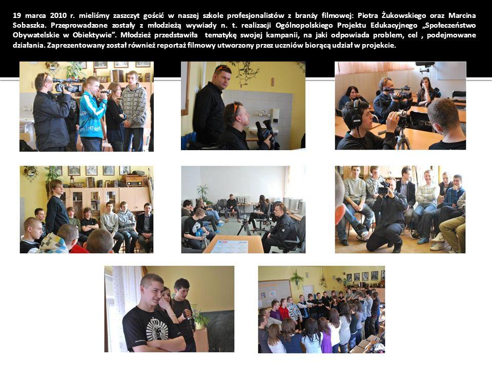 19 marca 2010 r. mieliśmy zaszczyt gościć w naszej szkole profesjonalistów z branży filmowej: Piotra Żukowskiego oraz Marcina Sobaszka. Przeprowadzone