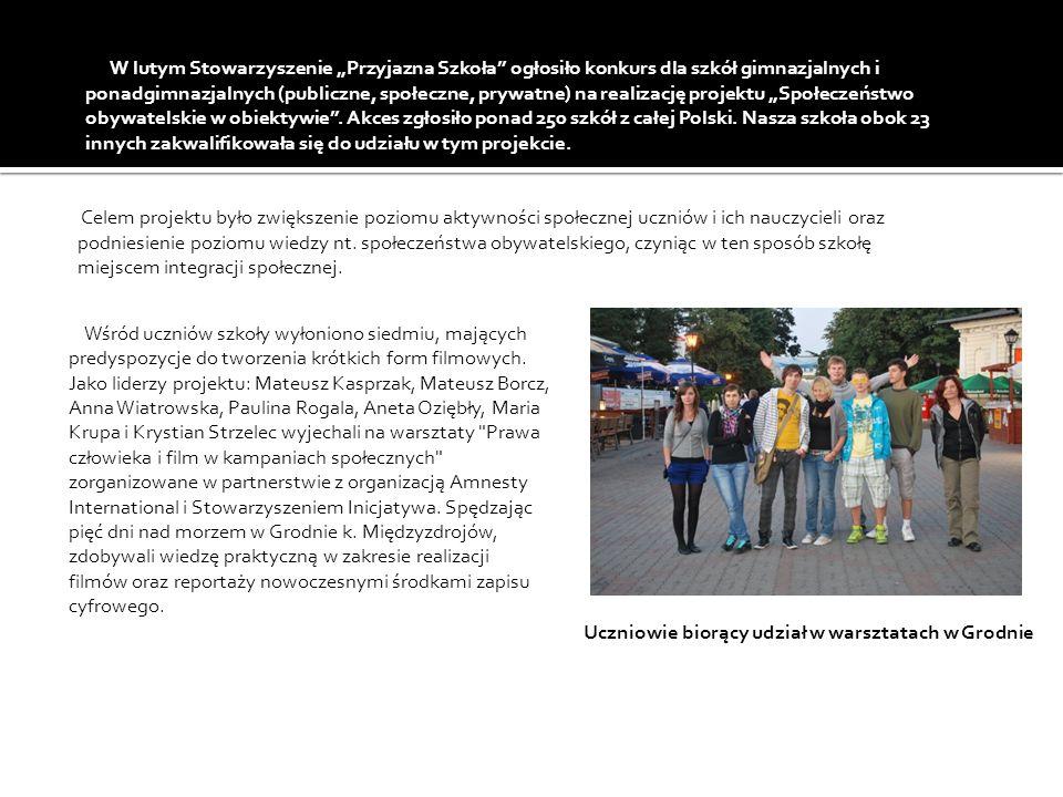 W lutym Stowarzyszenie Przyjazna Szkoła ogłosiło konkurs dla szkół gimnazjalnych i ponadgimnazjalnych (publiczne, społeczne, prywatne) na realizację projektu Społeczeństwo obywatelskie w obiektywie.