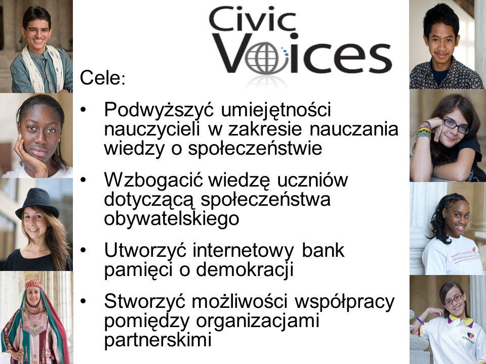 2 Cele: Podwyższyć umiejętności nauczycieli w zakresie nauczania wiedzy o społeczeństwie Wzbogacić wiedzę uczniów dotyczącą społeczeństwa obywatelskiego Utworzyć internetowy bank pamięci o demokracji Stworzyć możliwości współpracy pomiędzy organizacjami partnerskimi