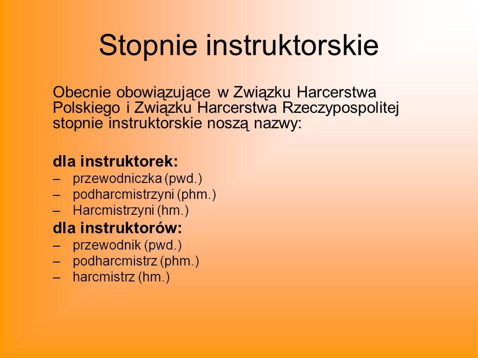 Stopnie instruktorskie Obecnie obowiązujące w Związku Harcerstwa Polskiego i Związku Harcerstwa Rzeczypospolitej stopnie instruktorskie noszą nazwy: d