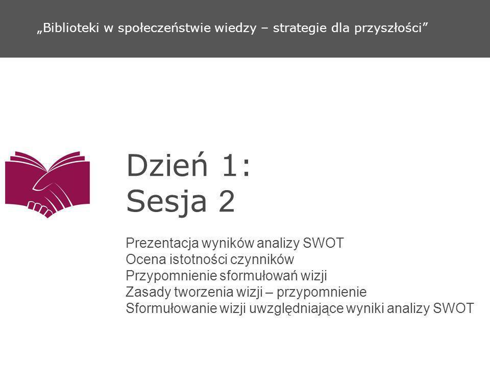 Dzień 1: Sesja 2 Prezentacja wyników analizy SWOT Ocena istotności czynników Przypomnienie sformułowań wizji Zasady tworzenia wizji – przypomnienie Sf