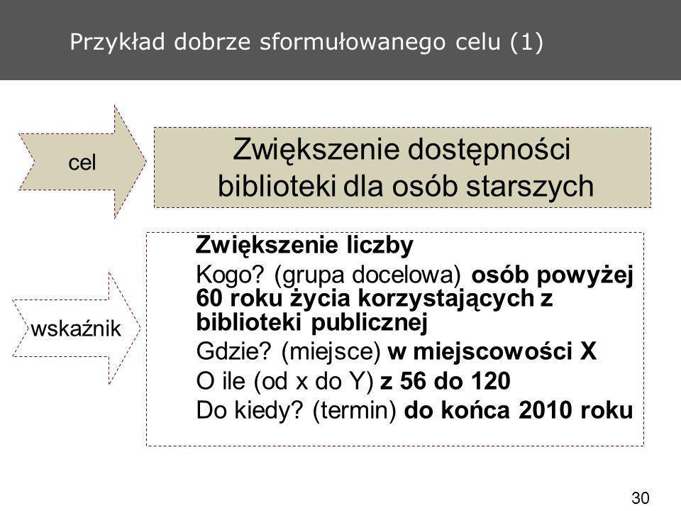 30 Przykład dobrze sformułowanego celu (1) Zwiększenie dostępności biblioteki dla osób starszych Zwiększenie liczby Kogo? (grupa docelowa) osób powyże