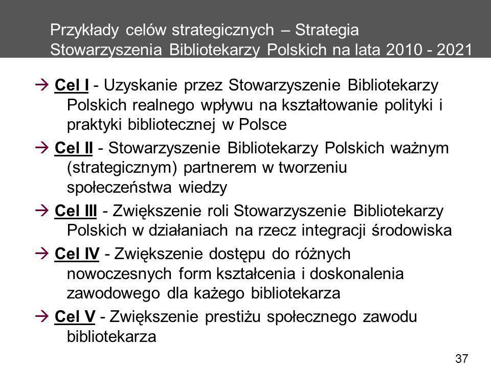 37 Przykłady celów strategicznych – Strategia Stowarzyszenia Bibliotekarzy Polskich na lata 2010 - 2021 Cel I - Uzyskanie przez Stowarzyszenie Bibliot