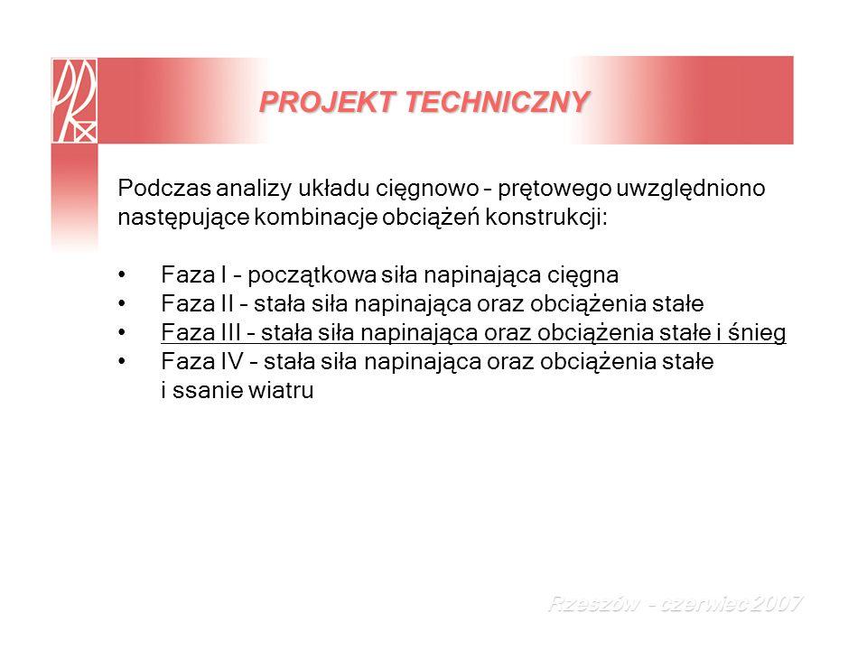 Podczas analizy układu cięgnowo – prętowego uwzględniono następujące kombinacje obciążeń konstrukcji: Faza I – początkowa siła napinająca cięgna Faza