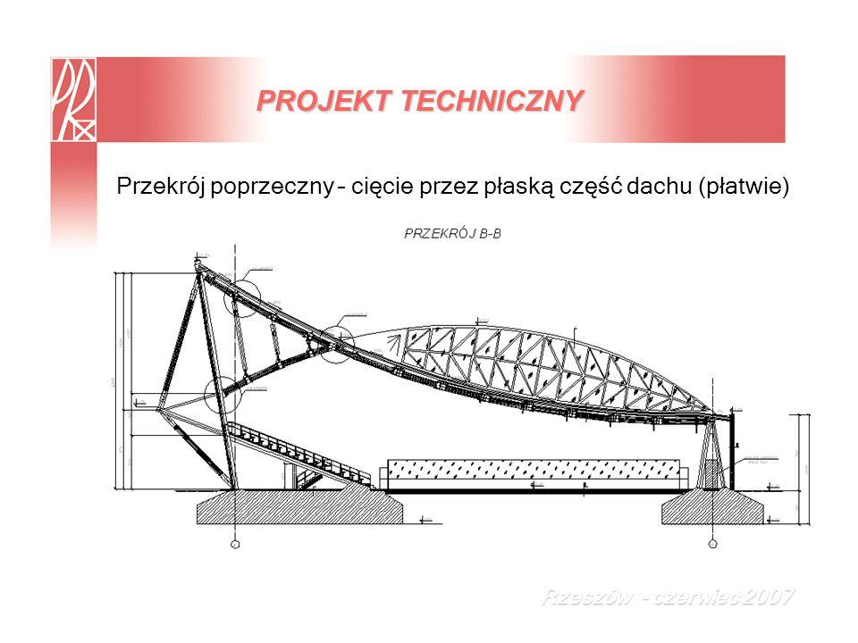 PROJEKT TECHNICZNY Przekrój poprzeczny – cięcie przez płaską część dachu (płatwie) Rzeszów - czerwiec 2007
