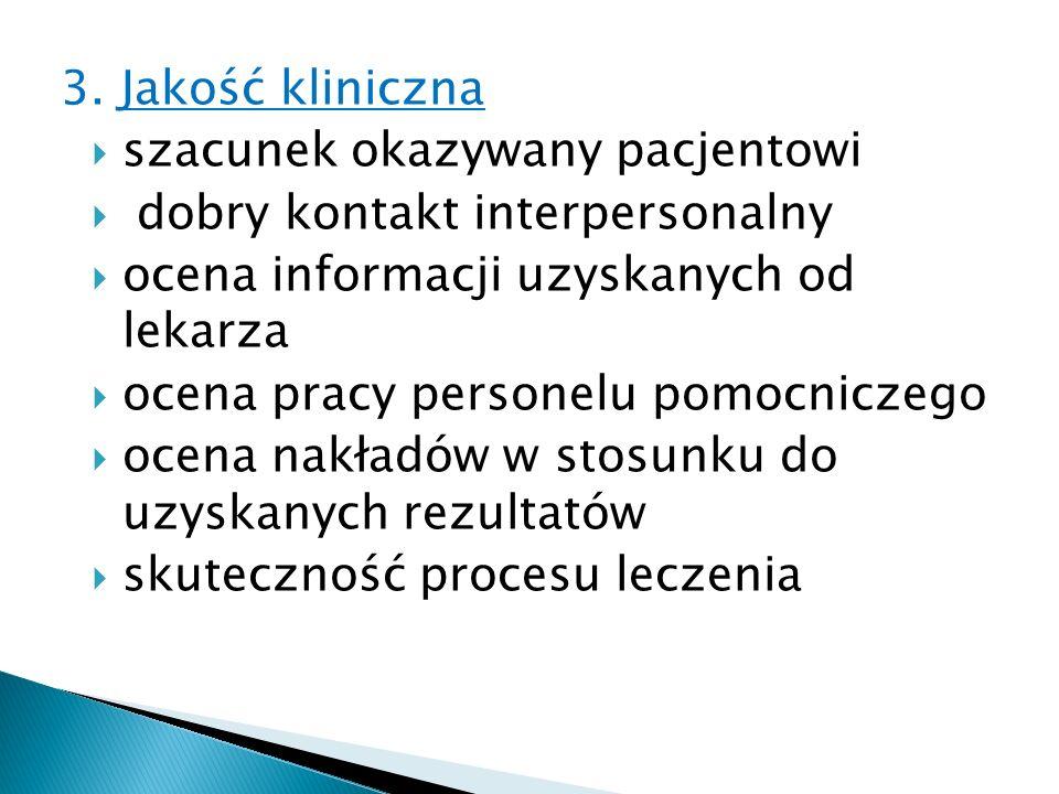 3. Jakość kliniczna szacunek okazywany pacjentowi dobry kontakt interpersonalny ocena informacji uzyskanych od lekarza ocena pracy personelu pomocnicz