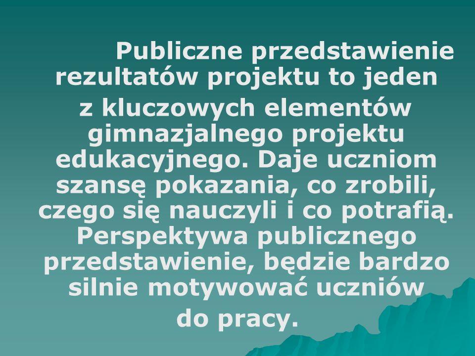 Publiczne przedstawienie rezultatów projektu to jeden z kluczowych elementów gimnazjalnego projektu edukacyjnego.
