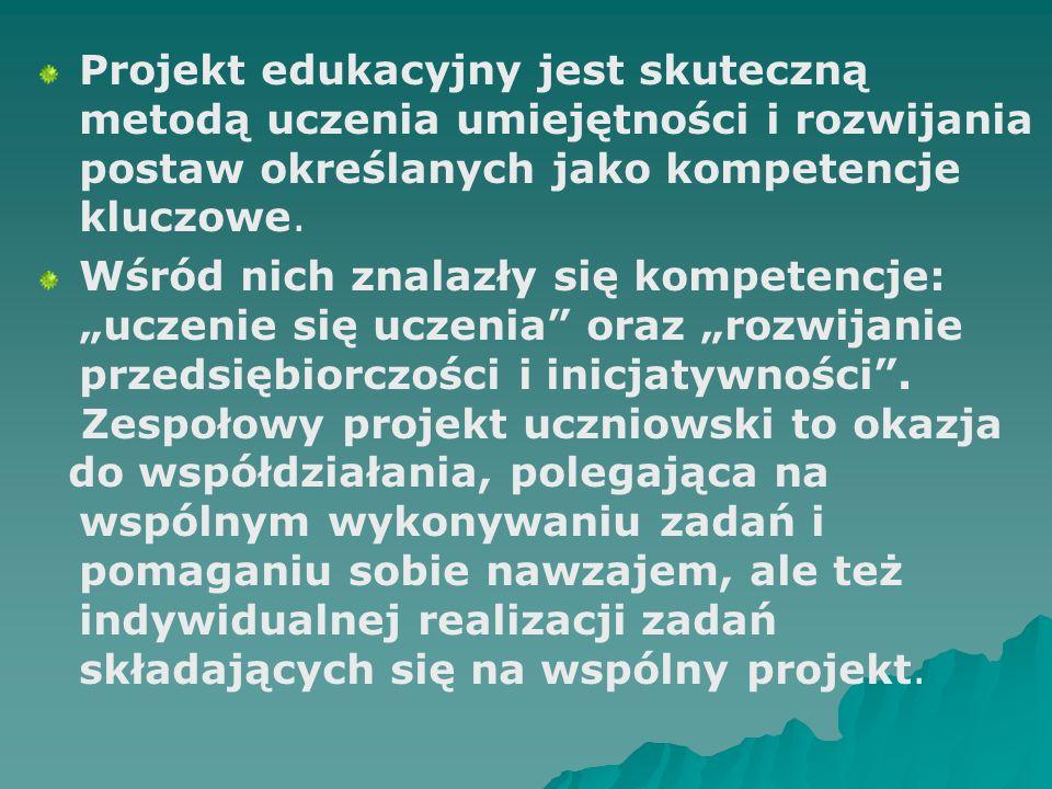 Projekt edukacyjny jest skuteczną metodą uczenia umiejętności i rozwijania postaw określanych jako kompetencje kluczowe.