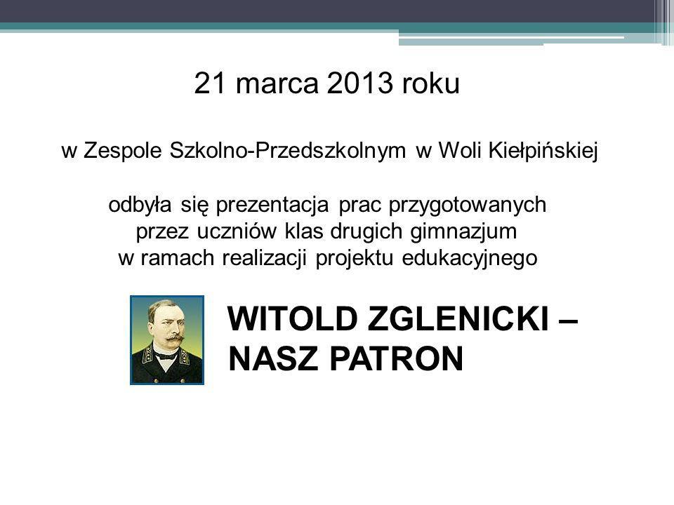 21 marca 2013 roku w Zespole Szkolno-Przedszkolnym w Woli Kiełpińskiej odbyła się prezentacja prac przygotowanych przez uczniów klas drugich gimnazjum