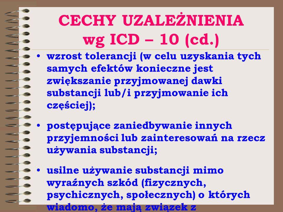 CECHY UZALEŻNIENIA wg ICD – 10 (cd.) wzrost tolerancji (w celu uzyskania tych samych efektów konieczne jest zwiększanie przyjmowanej dawki substancji