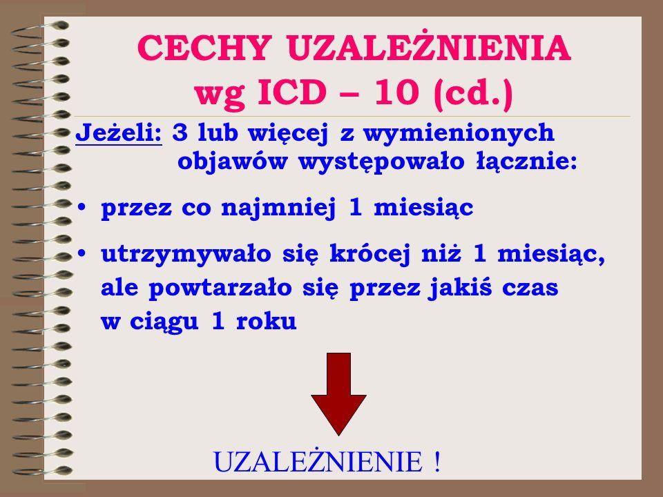 CECHY UZALEŻNIENIA wg ICD – 10 (cd.) Jeżeli: 3 lub więcej z wymienionych objawów występowało łącznie: przez co najmniej 1 miesiąc utrzymywało się króc
