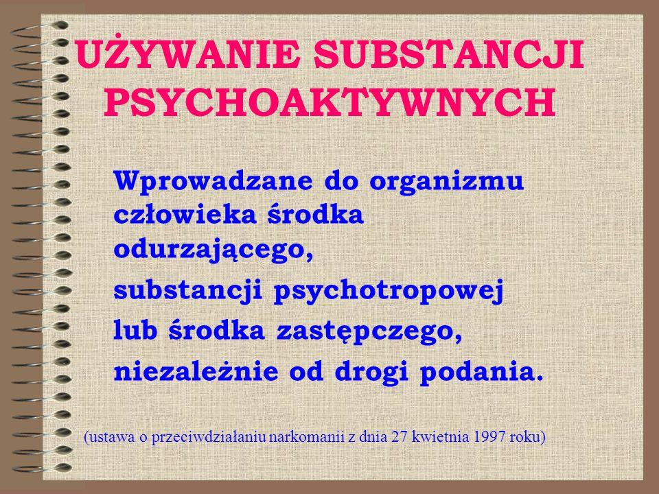 UŻYWANIE SUBSTANCJI PSYCHOAKTYWNYCH Wprowadzane do organizmu człowieka środka odurzającego, substancji psychotropowej lub środka zastępczego, niezależ