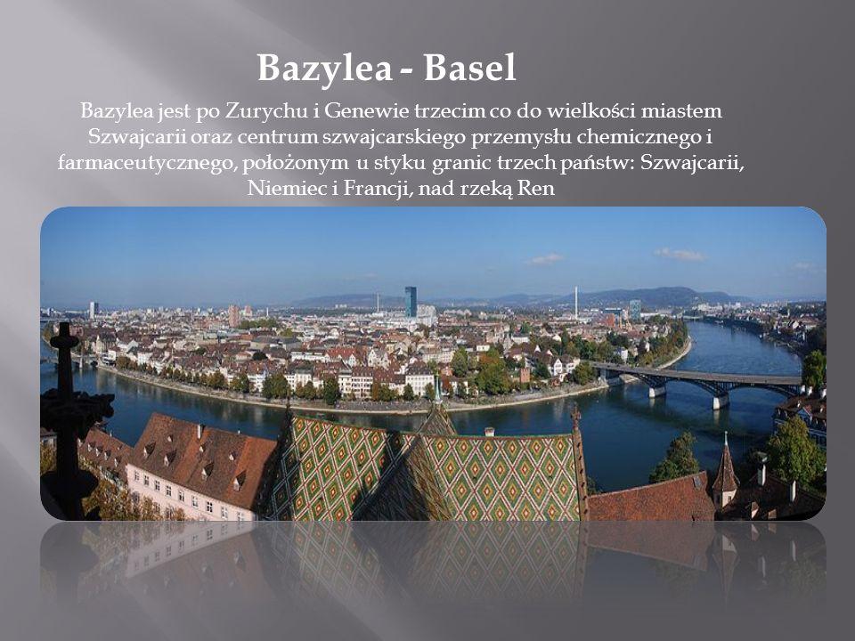 Bazylea - Basel Bazylea jest po Zurychu i Genewie trzecim co do wielkości miastem Szwajcarii oraz centrum szwajcarskiego przemysłu chemicznego i farma