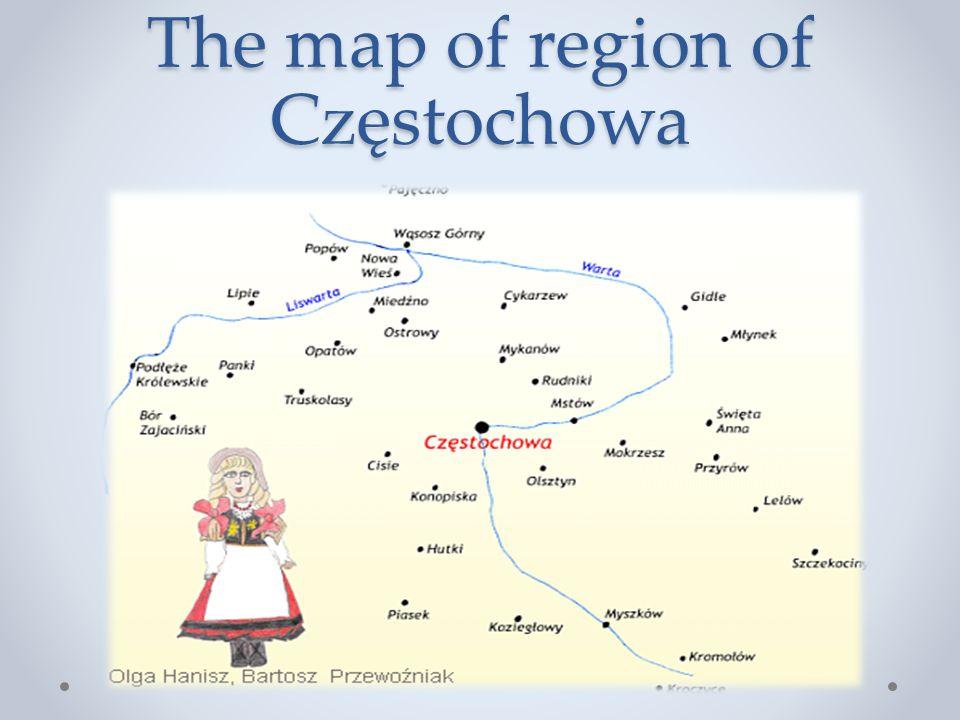 The map of region of Częstochowa