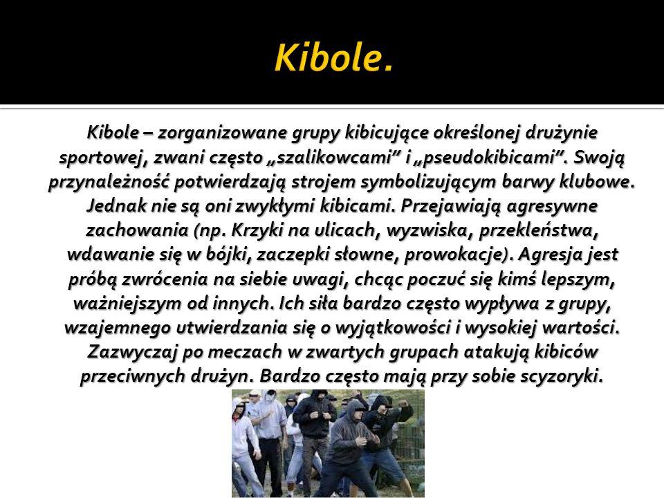 Kibole – zorganizowane grupy kibicujące określonej drużynie sportowej, zwani często szalikowcami i pseudokibicami. Swoją przynależność potwierdzają st