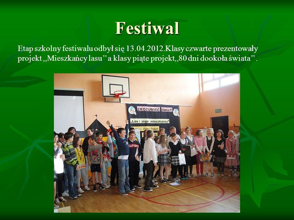 Festiwal Etap szkolny festiwalu odbył się 13.04.2012.Klasy czwarte prezentowały projekt,,Mieszkańcy lasu a klasy piąte projekt,,80 dni dookoła świata.