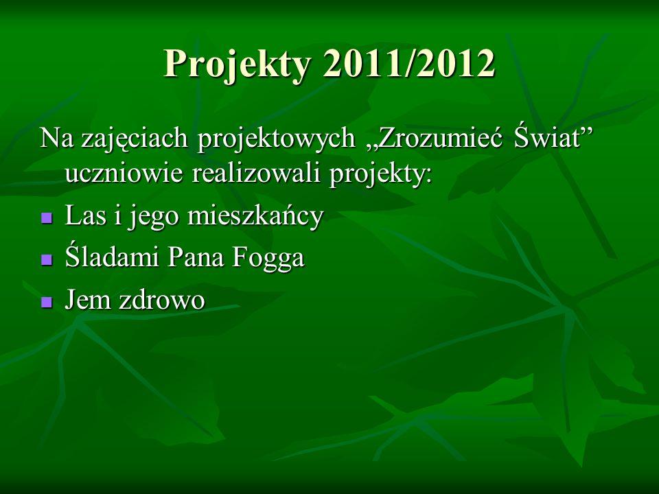 Projekty 2011/2012 Na zajęciach projektowych Zrozumieć Świat uczniowie realizowali projekty: Las i jego mieszkańcy Las i jego mieszkańcy Śladami Pana