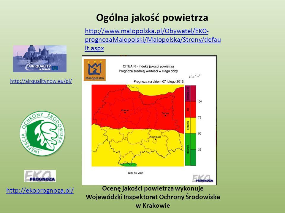 http://www.malopolska.pl/Obywatel/EKO- prognozaMalopolski/Malopolska/Strony/defau lt.aspx Ogólna jakość powietrza Ocenę jakości powietrza wykonuje Woj