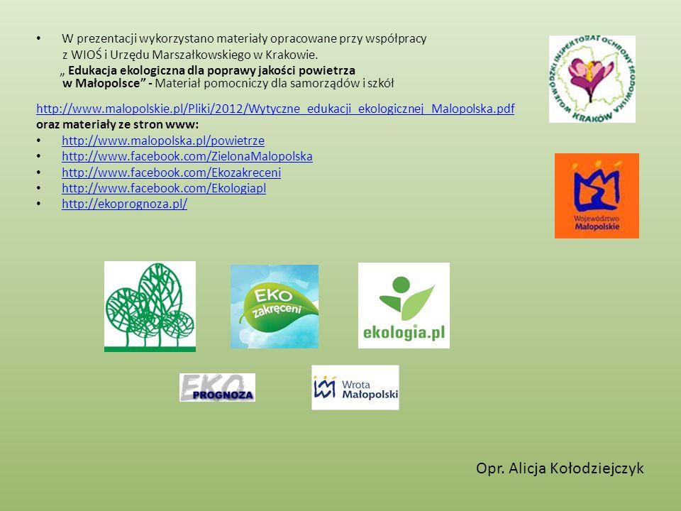 W prezentacji wykorzystano materiały opracowane przy współpracy z WIOŚ i Urzędu Marszałkowskiego w Krakowie. Edukacja ekologiczna dla poprawy jakości