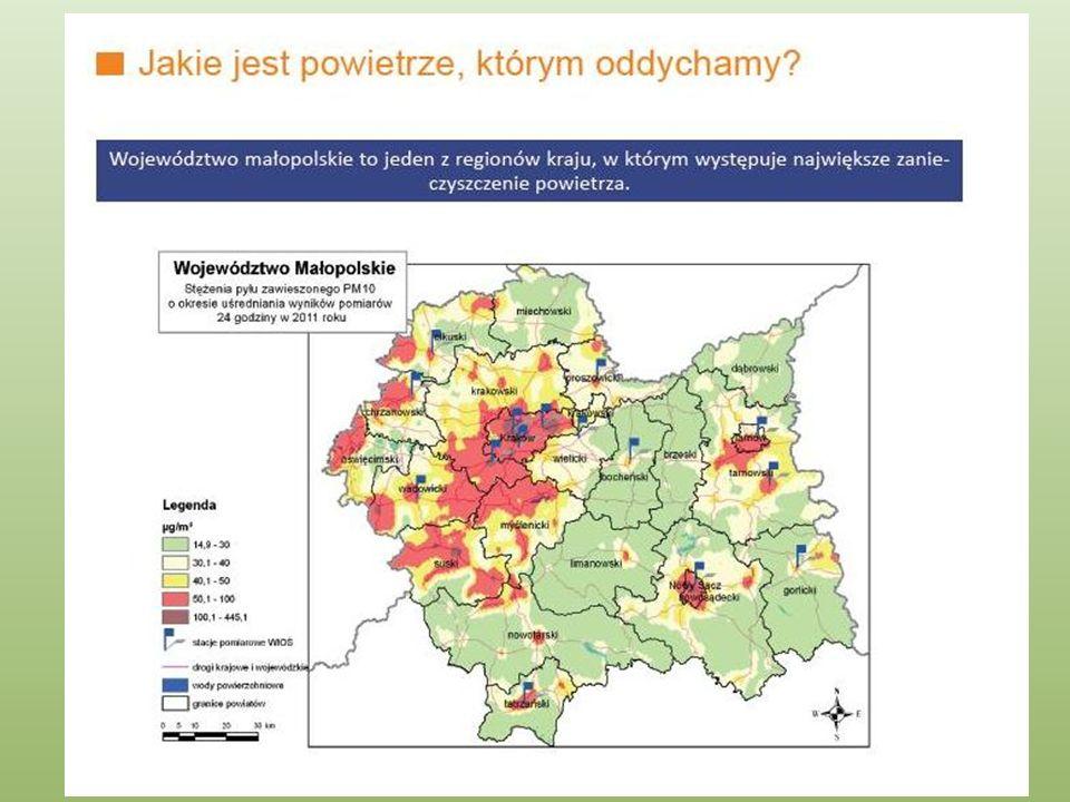 Sami mieszkańcy miast i wsi w sezonie grzewczym wprowadzają do powietrza znaczne ilości zanieczyszczeń takich jak : PM10, PM2,5, dwutlenek węglowodory, takie jak benzo(a)piren Największe przekroczenia norm zanieczyszczeń występują z powodu : spalania paliw stałych w domowych paleniskach i kotłach połączone z patologicznym spalaniem odpadów wzrastającej liczby pojazdów poruszających się po drogach.