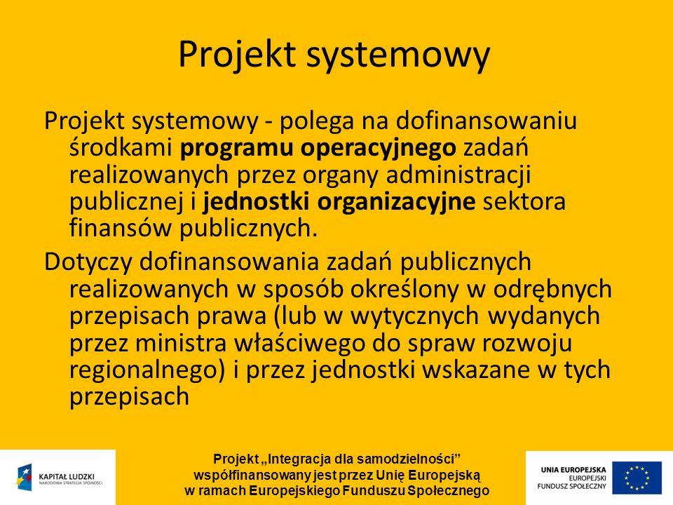 Projekt Integracja dla samodzielności współfinansowany jest przez Unię Europejską w ramach Europejskiego Funduszu Społecznego Projekt systemowy - polega na dofinansowaniu środkami programu operacyjnego zadań realizowanych przez organy administracji publicznej i jednostki organizacyjne sektora finansów publicznych.