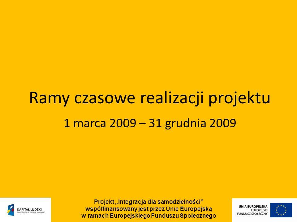 Projekt Integracja dla samodzielności współfinansowany jest przez Unię Europejską w ramach Europejskiego Funduszu Społecznego Budżet projektu Całość budżetu: – 10 692 904 PLN Wkład własny: – 1 122 755 PLN Wydatki na aktywną integrację: – 6 401 000 PLN