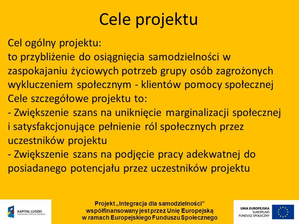 Projekt Integracja dla samodzielności współfinansowany jest przez Unię Europejską w ramach Europejskiego Funduszu Społecznego Typy podejmowanych działań na rzecz osób niepełnosprawnych: Turnus rehabilitacyjny, zajęcia usprawniające psychoruchowo, Treningi: kompetencji społecznych, autoprezentacji, radzenia sobie ze stresem Usługi: doradcy zawodowego, asystenta osoby niepełnosprawnej, trenera pracy, brokera edukacyjnego Kursy: zawodowe, języka angielskiego, komputerowe, obsługi urządzeń biurowych Szkolenia w przyszłym miejscu pracy Opieka psychologiczna nad uczestnikami projektu Grupy wsparcia Warsztaty: samokształcenia, aktywizacji zawodowej, aktywnego poszukiwania pracy, psychologiczne, wykłady o tematyce zdrowotnej Poradnictwo prawne Coaching Terapia grupowa i indywidualna