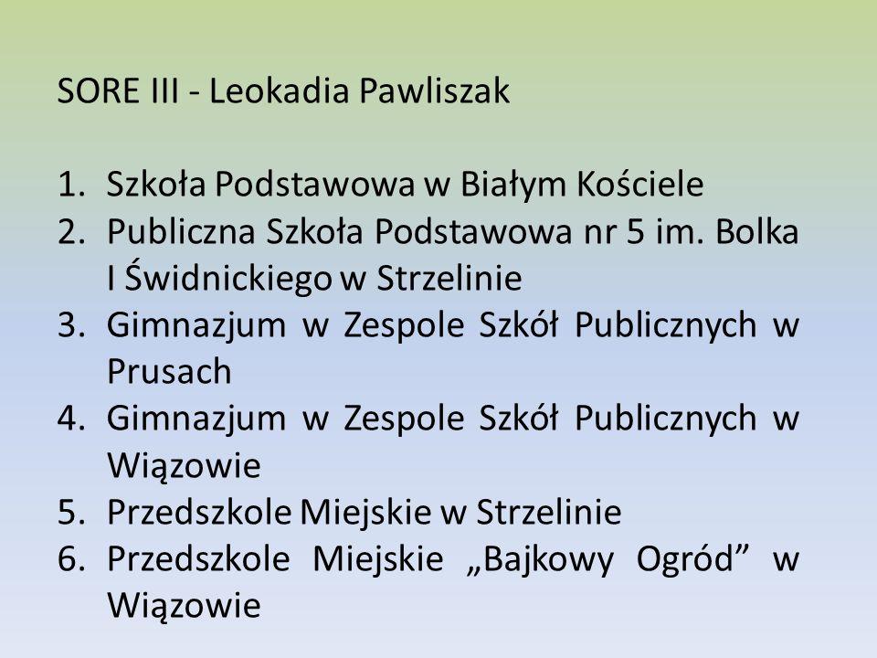 SORE III - Leokadia Pawliszak 1.Szkoła Podstawowa w Białym Kościele 2.Publiczna Szkoła Podstawowa nr 5 im.