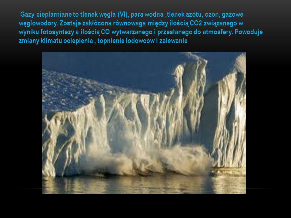 Gazy cieplarniane to tlenek węgla (VI), para wodna,tlenek azotu, ozon, gazowe węglowodory. Zostaje zakłócona równowaga między ilością CO2 związanego w