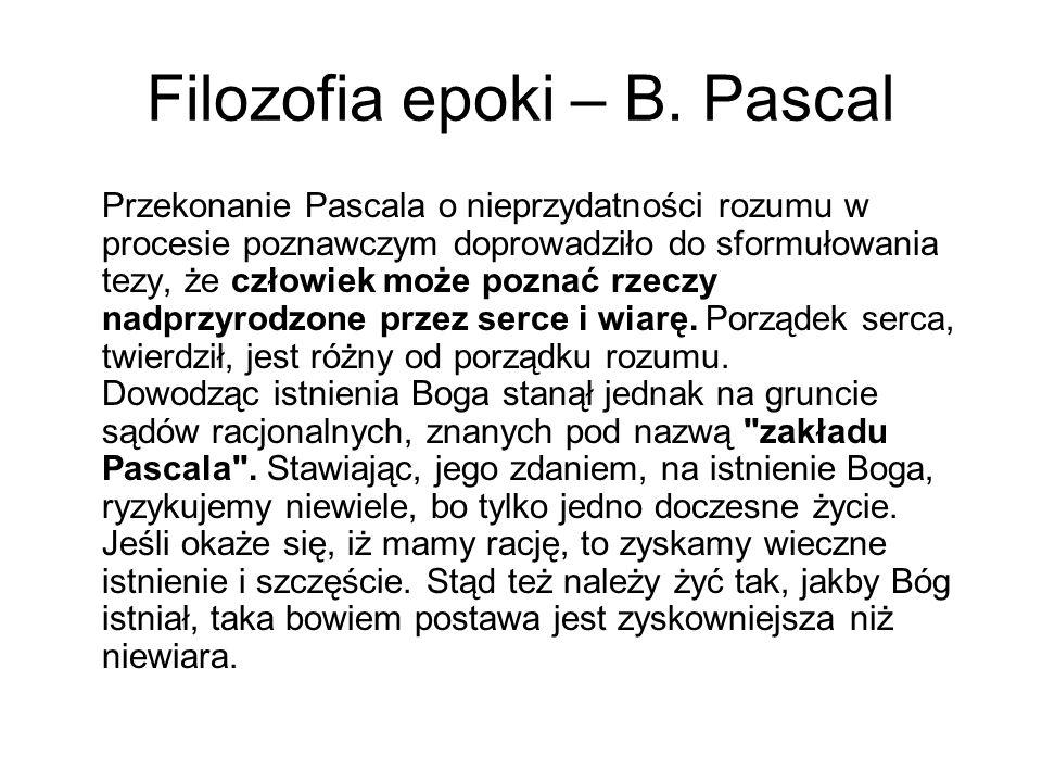 Filozofia epoki – B.