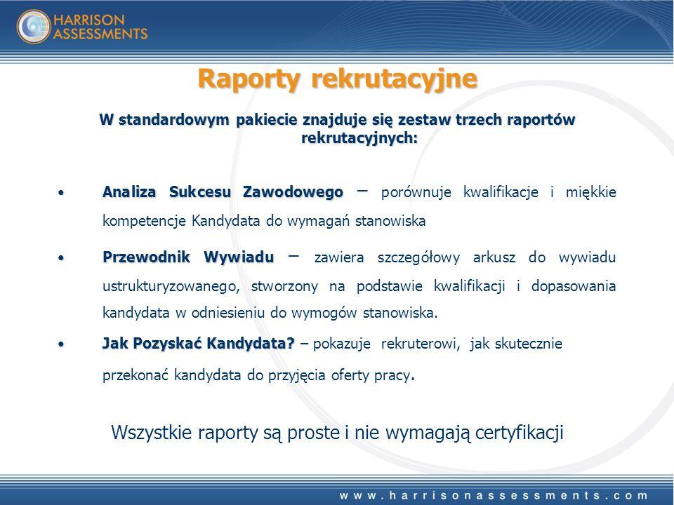 Raporty rekrutacyjne W standardowym pakiecie znajduje się zestaw trzech raportów rekrutacyjnych: Analiza Sukcesu ZawodowegoAnaliza Sukcesu Zawodowego – porównuje kwalifikacje i miękkie kompetencje Kandydata do wymagań stanowiska Przewodnik WywiaduPrzewodnik Wywiadu – zawiera szczegółowy arkusz do wywiadu ustrukturyzowanego, stworzony na podstawie kwalifikacji i dopasowania kandydata w odniesieniu do wymogów stanowiska.