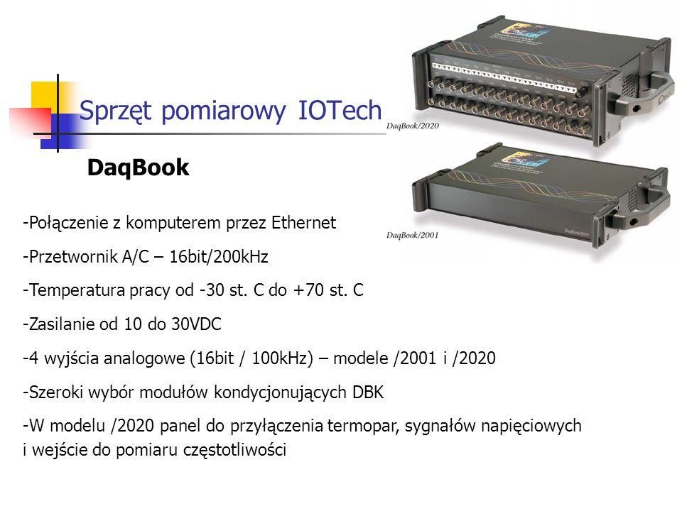 Sprzęt pomiarowy IOTech DaqBook -Połączenie z komputerem przez Ethernet -Przetwornik A/C – 16bit/200kHz -Temperatura pracy od -30 st.