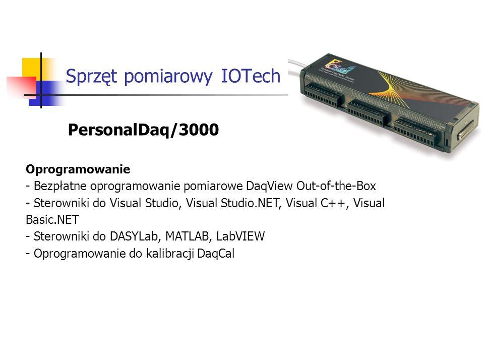 Sprzęt pomiarowy IOTech PersonalDaq/3000 Oprogramowanie - Bezpłatne oprogramowanie pomiarowe DaqView Out-of-the-Box - Sterowniki do Visual Studio, Visual Studio.NET, Visual C++, Visual Basic.NET - Sterowniki do DASYLab, MATLAB, LabVIEW - Oprogramowanie do kalibracji DaqCal