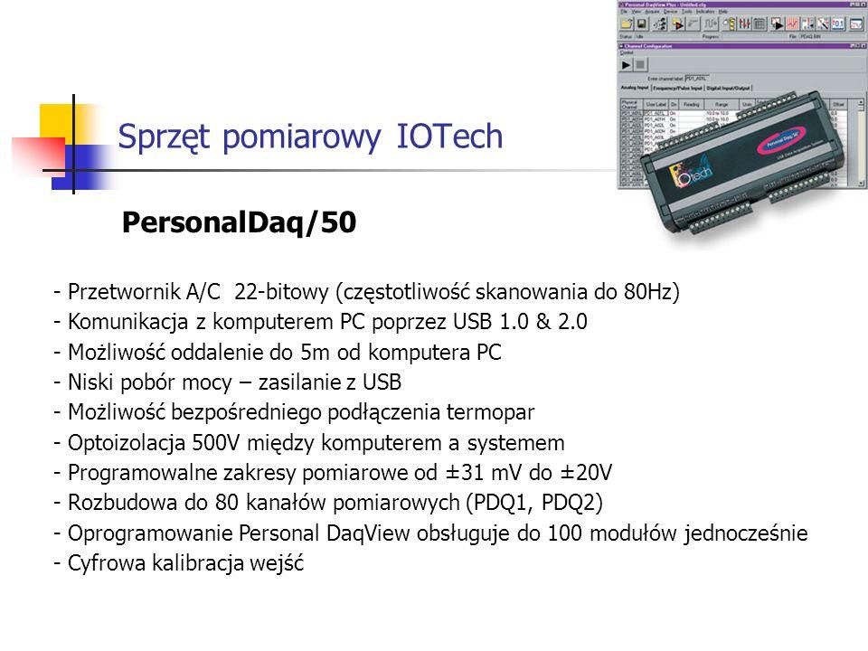 Sprzęt pomiarowy IOTech PersonalDaq/50 - Przetwornik A/C 22-bitowy (częstotliwość skanowania do 80Hz) - Komunikacja z komputerem PC poprzez USB 1.0 & 2.0 - Możliwość oddalenie do 5m od komputera PC - Niski pobór mocy – zasilanie z USB - Możliwość bezpośredniego podłączenia termopar - Optoizolacja 500V między komputerem a systemem - Programowalne zakresy pomiarowe od ±31 mV do ±20V - Rozbudowa do 80 kanałów pomiarowych (PDQ1, PDQ2) - Oprogramowanie Personal DaqView obsługuje do 100 modułów jednocześnie - Cyfrowa kalibracja wejść