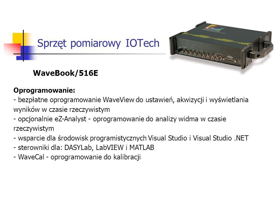 Sprzęt pomiarowy IOTech WaveBook/516E Oprogramowanie: - bezpłatne oprogramowanie WaveView do ustawień, akwizycji i wyświetlania wyników w czasie rzeczywistym - opcjonalnie eZ-Analyst - oprogramowanie do analizy widma w czasie rzeczywistym - wsparcie dla środowisk programistycznych Visual Studio i Visual Studio.NET - sterowniki dla: DASYLab, LabVIEW i MATLAB - WaveCal - oprogramowanie do kalibracji