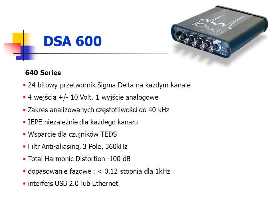 DSA 600 640 Series 24 bitowy przetwornik Sigma Delta na każdym kanale 4 wejścia +/- 10 Volt, 1 wyjście analogowe Zakres analizowanych częstotliwości do 40 kHz IEPE niezależnie dla każdego kanału Wsparcie dla czujników TEDS Filtr Anti-aliasing, 3 Pole, 360kHz Total Harmonic Distortion -100 dB dopasowanie fazowe : < 0.12 stopnia dla 1kHz interfejs USB 2.0 lub Ethernet