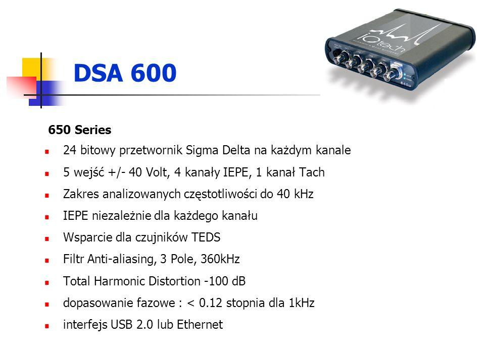 DSA 600 650 Series 24 bitowy przetwornik Sigma Delta na każdym kanale 5 wejść +/- 40 Volt, 4 kanały IEPE, 1 kanał Tach Zakres analizowanych częstotliwości do 40 kHz IEPE niezależnie dla każdego kanału Wsparcie dla czujników TEDS Filtr Anti-aliasing, 3 Pole, 360kHz Total Harmonic Distortion -100 dB dopasowanie fazowe : < 0.12 stopnia dla 1kHz interfejs USB 2.0 lub Ethernet