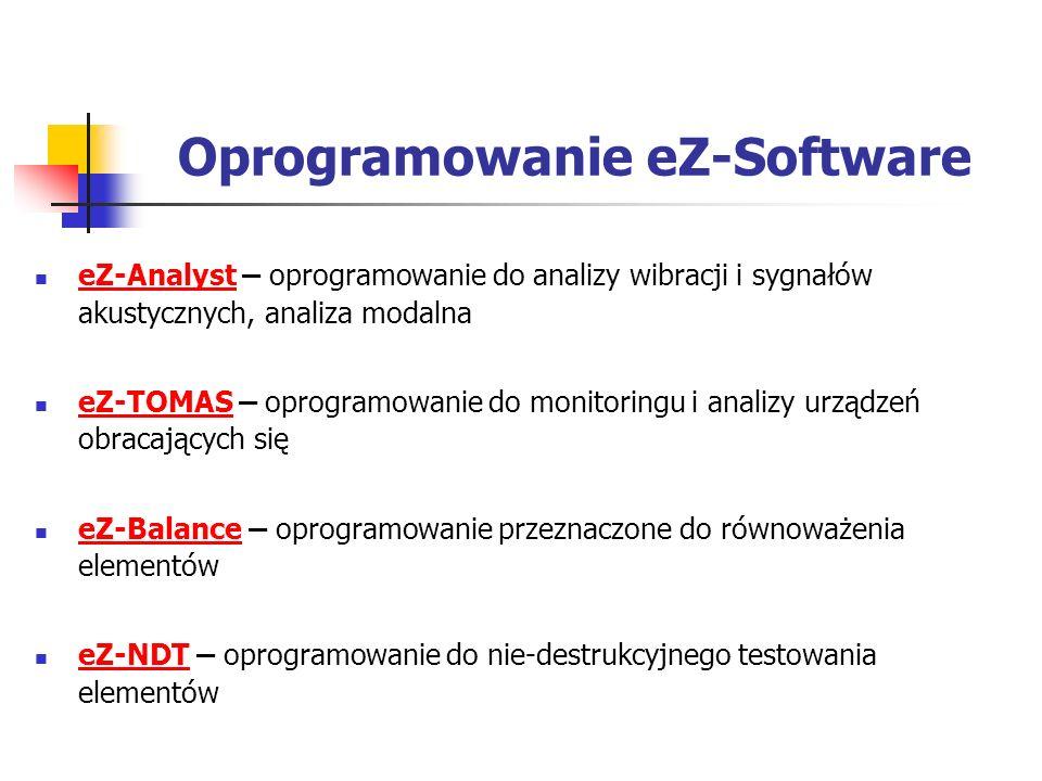 Oprogramowanie eZ-Software eZ-Analyst – oprogramowanie do analizy wibracji i sygnałów akustycznych, analiza modalna eZ-Analyst eZ-TOMAS – oprogramowanie do monitoringu i analizy urządzeń obracających się eZ-TOMAS eZ-Balance – oprogramowanie przeznaczone do równoważenia elementów eZ-Balance eZ-NDT – oprogramowanie do nie-destrukcyjnego testowania elementów eZ-NDT