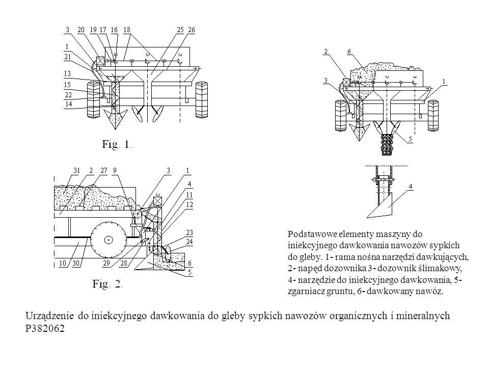 Urządzenie do iniekcyjnego dawkowania do gleby sypkich nawozów organicznych i mineralnych P382062 Podstawowe elementy maszyny do iniekcyjnego dawkowania nawozów sypkich do gleby.
