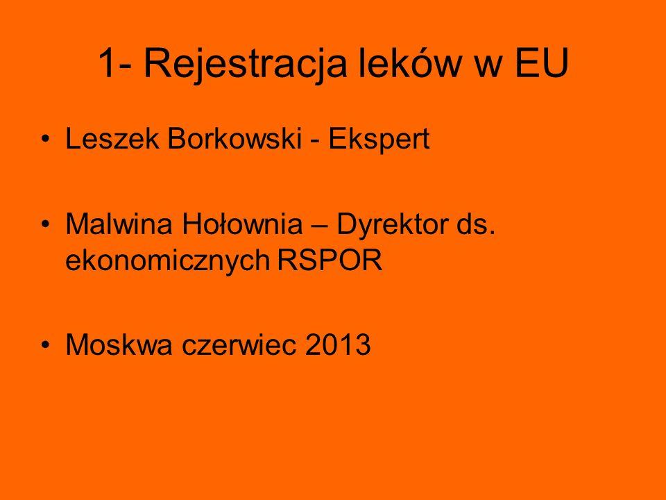 1- Rejestracja leków w EU Leszek Borkowski - Ekspert Malwina Hołownia – Dyrektor ds. ekonomicznych RSPOR Moskwa czerwiec 2013