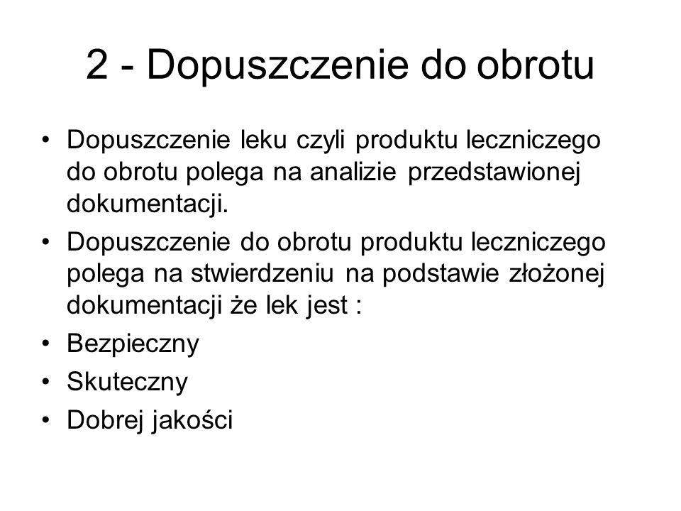 2 - Dopuszczenie do obrotu Dopuszczenie leku czyli produktu leczniczego do obrotu polega na analizie przedstawionej dokumentacji. Dopuszczenie do obro