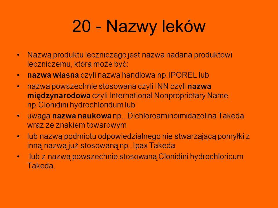 20 - Nazwy leków Nazwą produktu leczniczego jest nazwa nadana produktowi leczniczemu, którą może być: nazwa własna czyli nazwa handlowa np.IPOREL lub