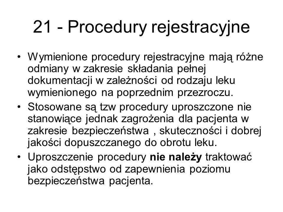 21 - Procedury rejestracyjne Wymienione procedury rejestracyjne mają różne odmiany w zakresie składania pełnej dokumentacji w zależności od rodzaju leku wymienionego na poprzednim przezroczu.