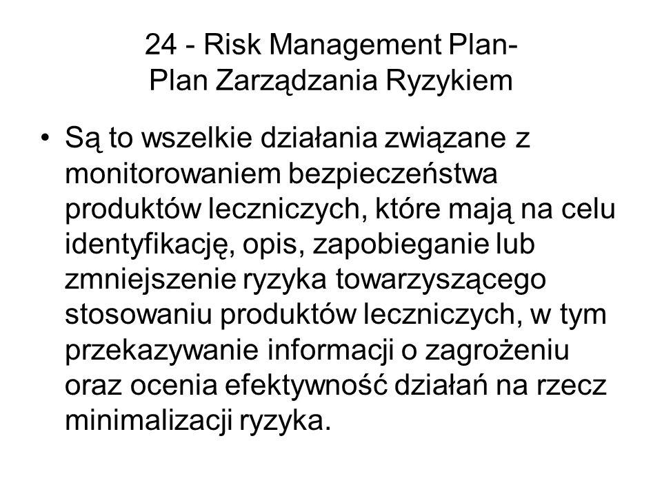 24 - Risk Management Plan- Plan Zarządzania Ryzykiem Są to wszelkie działania związane z monitorowaniem bezpieczeństwa produktów leczniczych, które ma