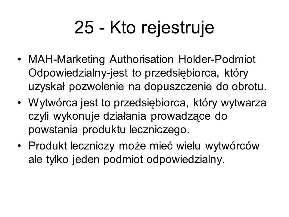 25 - Kto rejestruje MAH-Marketing Authorisation Holder-Podmiot Odpowiedzialny-jest to przedsiębiorca, który uzyskał pozwolenie na dopuszczenie do obrotu.