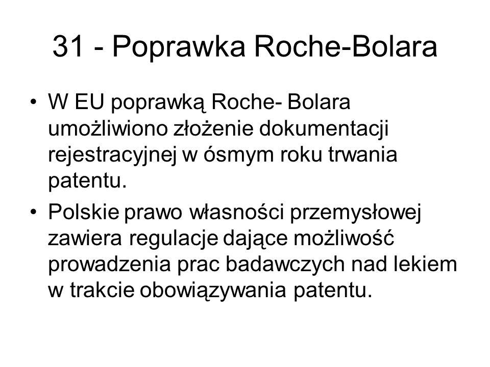 31 - Poprawka Roche-Bolara W EU poprawką Roche- Bolara umożliwiono złożenie dokumentacji rejestracyjnej w ósmym roku trwania patentu.