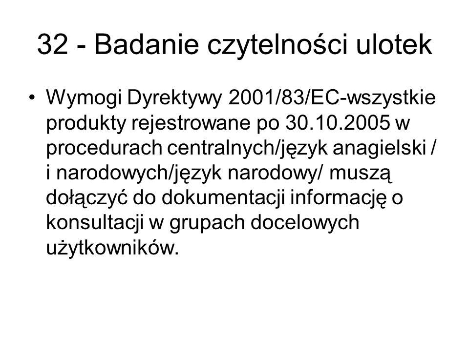 32 - Badanie czytelności ulotek Wymogi Dyrektywy 2001/83/EC-wszystkie produkty rejestrowane po 30.10.2005 w procedurach centralnych/język anagielski / i narodowych/język narodowy/ muszą dołączyć do dokumentacji informację o konsultacji w grupach docelowych użytkowników.