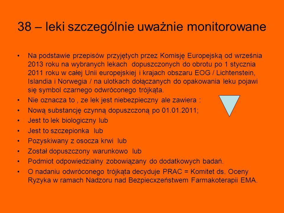 38 – leki szczególnie uważnie monitorowane Na podstawie przepisów przyjętych przez Komisję Europejską od września 2013 roku na wybranych lekach dopuszczonych do obrotu po 1 stycznia 2011 roku w całej Unii europejskiej i krajach obszaru EOG / Lichtenstein, Islandia i Norwegia / na ulotkach dołączanych do opakowania leku pojawi się symbol czarnego odwróconego trójkąta.
