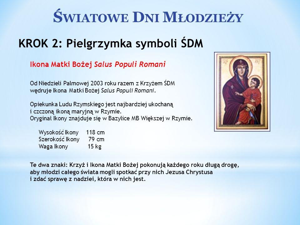 Ś WIATOWE D NI M ŁODZIEŻY Ikona Matki Bożej Salus Populi Romani Od Niedzieli Palmowej 2003 roku razem z Krzyżem ŚDM wędruje Ikona Matki Bożej Salus Po